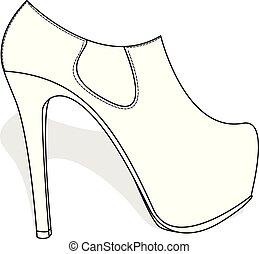 Fashionable womanish shoes isolated on white background