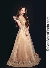 Fashionable women accessories. Beautiful brunette model ...