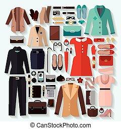 fashionable women clothes icons flat set