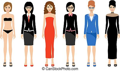 Fashionable women on a white background