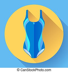 Fashionable women one-piece sport swimsuit vector icon. Flat design style