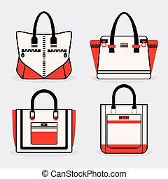 Fashionable women purse icons set