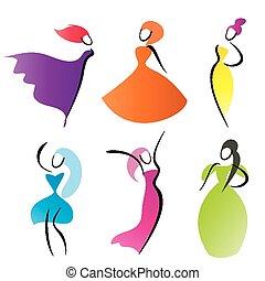 fashionable women vector silhouettes, stylized symbols