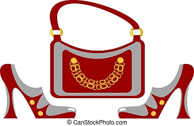 Fashionable women's footwear and handbag in the same style