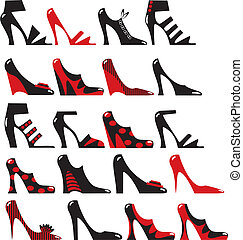 Fashionable ladies shoes in black and red