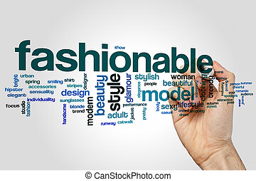 Fashionable word cloud concept on grey background