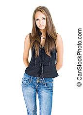 Fashionable young brunette model. - Portrait of fashionable ...