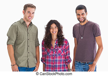Fashionable young friends on white background