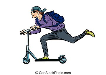 fashionable young man on a scooter, action sports