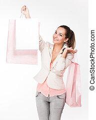 Fashionable young shopper. - Portrait of a gorgeous...