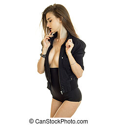 Fashionable young woman in high panties and black jacket...
