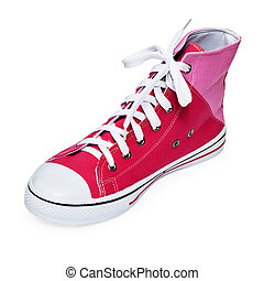 Fashionable youth sports shoe on white