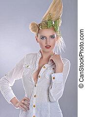 fashioned hair woman wearing white shirt