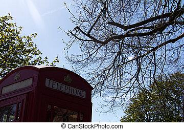fashioned velho, caixa vermelha telefone, em, um, país, vila