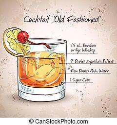 fashioned velho, coquetel
