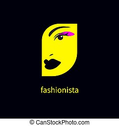 beautiful female face with makeup - Fashionista icon, ...