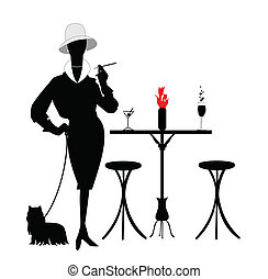 fashionista - silhouette of lady with her puppy on leash...
