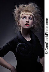Fasion portrait of stylish woman with amazing haircut