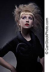 fasion, retrato, de, elegante, mulher, com, espantoso, corte cabelo