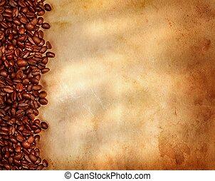 fasole kawy, na, stary, pergamin, papier