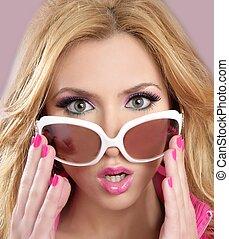 fason, barbie, lalka, styl, blode, dziewczyna, różowy, makijaż