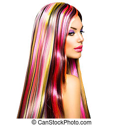 fason, barwny, piękno, makeup., włosy, wzór, dziewczyna