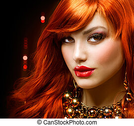 fason, biżuteria, haired, portrait., dziewczyna, czerwony
