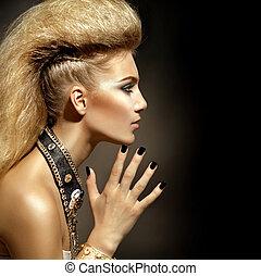 fason, biegun, styl, wzór, dziewczyna, portrait., fryzura