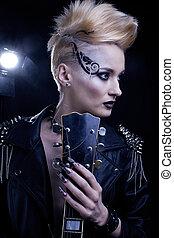 fason, biegun, styl, wzór, dziewczyna, portrait., hairstyle., punk, kobieta, makijaż, hairdo, i, czarnoskóry, nails., dymny, oczy