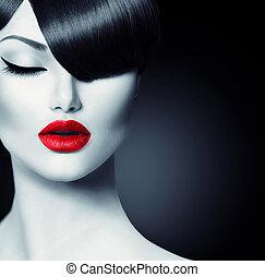 fason, blask, piękno, dziewczyna, z, modny, skraj, fryzura
