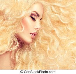 fason, blond, dziewczyna, z, zdrowy, długi, falisty włos