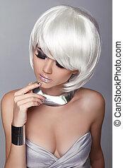 fason, blond, girl., piękno, portret, woman., biały, krótki, hair., odizolowany, na, szary, tło., hairstyle., fringe., moda, style.
