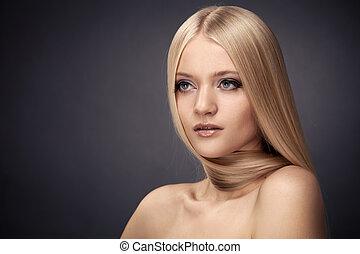 fason, blond, girl., piękny, makijaż, i, zdrowy, włosy