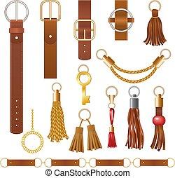 fason, budowla, elements., skóra, zbiór, pasek, elegancki,...