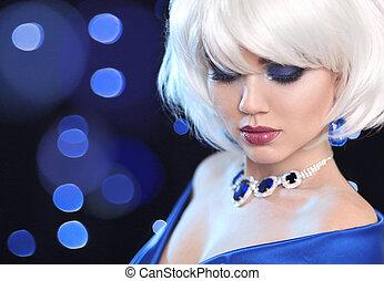 fason, dygać, blond, girl., biały, krótki, hair., piękno, makijaż, portret, woman., klejnoty, biżuteria, pendant., twarz, zamknięcie, do góry., hairstyle., fringe., moda, style.