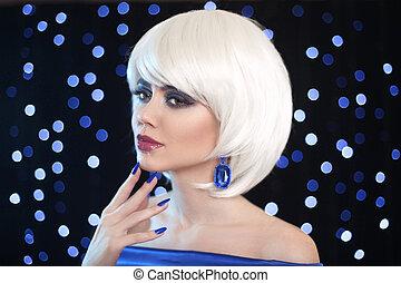 fason, dygać, blond, girl., piękno, makijaż, portret, woman., biały, krótki, hair., klejnoty, biżuteria, earrings., twarz, zamknięcie, do góry., hairstyle., fringe., moda, style.