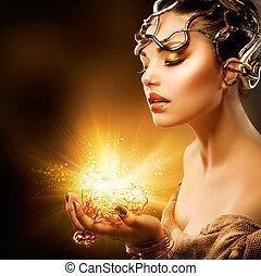 fason, dziewczyna, portrait., złoty, makijaż