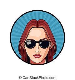 fason, dziewczyna, sunglasses, czerwony haired, szminka, rzeźnik, błękitne tło