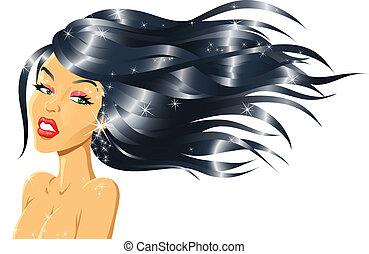 fason, dziewczyna, z, błyszczący, włosy