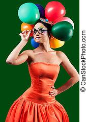 fason, dziewczyna, z, balloon