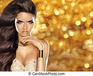 fason, dziewczyna, z, długi, błyszczący, falisty włos, i, piękno, makijaż, luksus