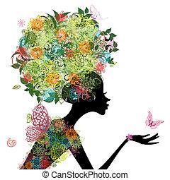 fason, dziewczyna, z, włosy, arabeska