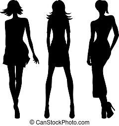 fason, dziewczyny, wektor, górny, wzory, sylwetka
