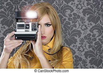 fason, fotograf, retro, aparat fotograficzny, sprawozdawca, kobieta