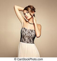 fason, fotografia, od, młody, piękna kobieta
