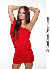 fason, fotografia, od, młody, wspaniały, kobieta, w, czerwony, dress., dziewczyna, posing., fotografia studia