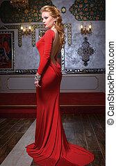 fason, fotografia, od, młody, wspaniały, kobieta, w, czerwony, dress.