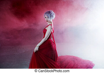 fason, fotografia, od, młody, wspaniały, kobieta, w, czerwony, dress., textured, tło, dym