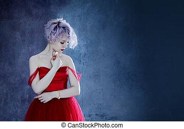 fason, fotografia, od, młody, wspaniały, kobieta, w, czerwony, dress., textured, tło