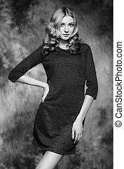 fason, fotografia, od, młody, wspaniały, kobieta